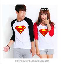 superman print long sleeve couple t-shirt