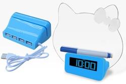 Memo Board Highlighter Alarm Clocks With 4 Port Usb Hub