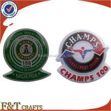 wholesale shield shaped aluminum cheap printable rosettes or badges for party