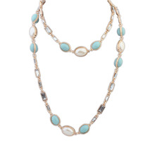 Korean most popular large costume jewelry cute girls fine style long pearl chains necklace