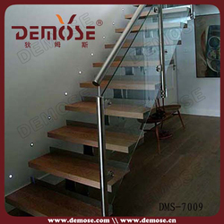perforated metal treads glass wood stairs/ prefabricated steel building