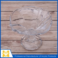 Professional grids carved glass ice cream cup