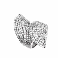Micro Set Pave CZ Bypass White Gold Over Copper Open Ring
