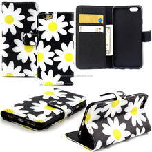Flower Wallet Flip Pu Leather Case for Iphone 6 Plus Stand Card Slot Phone Cover