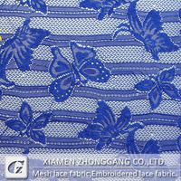 Royal blue butterfly lace fabric for dress