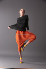 In Styles Orange Pleats Please Pants for summer Factory Prices