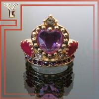 2014 Trendy Amethyst Love Crown Ring