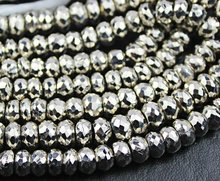 2 Inches - 8mm - Rare Oxidised Silver Color Pyrite Faceted Roundel Beads Strand - Buy 2 Inches Get 1 Inch Free - JE644