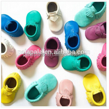 Mix 30colors Genuine cow leather soft fringe baby moccasins import handmade baby casual shoes infant boots girls china