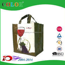 Hot selling pp woven wine bag/wine bottle bag/wine bag for 6 bottle