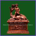 jardim tamanho vida fundição de bronze de animais com figuras de menino