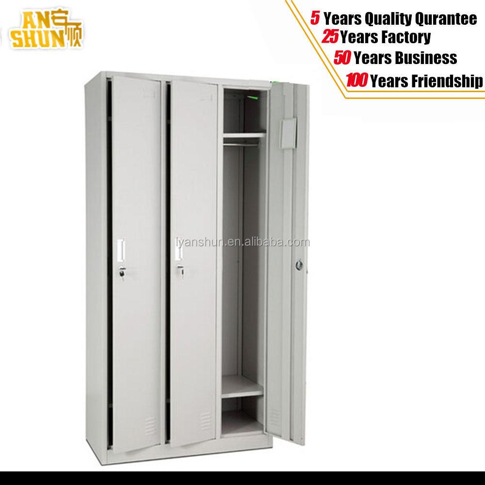 Steel Storage Cabinet 3 Doors Wardrobe Bedroom Furniture Clothes Cabinet Buy Steel Storage