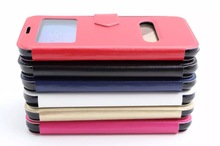 Double Window Leather phone case with tpu for Samsung galaxy S6 with stand