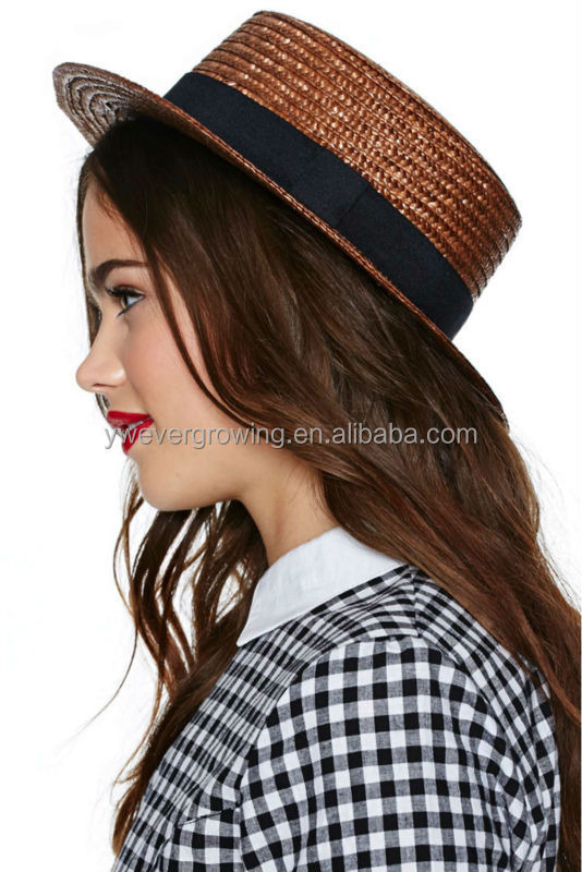 Black Straw Hat Straw Boater Hat in Black With