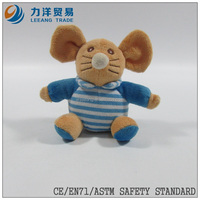 cute/lovely baby plush/stuff toys/animal toys/blue clothes mouse with ring, Customised toys,CE/ASTM safety stardard