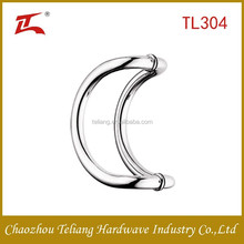 C style satin and mirror Polish stainless steel glass pull door handle