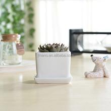 Home decorative mini white rectangular ceramic planter with saucer