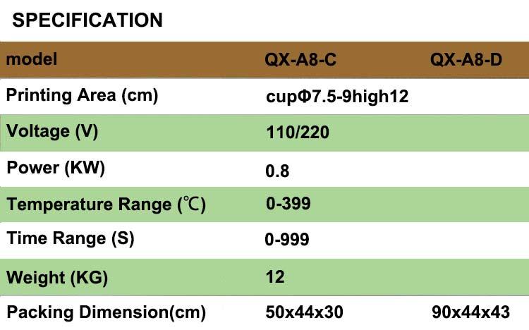 QX-A8-D Hot sale 5 in 1 multifunctional mug heat press machine