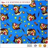 Monkey king printed super soft velboa 95 polyester 5 spandex fabric, kid clothing fabric