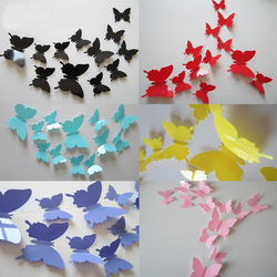 12pcs per set 3 d smooth butterflies sitting room bedroom wall stickers