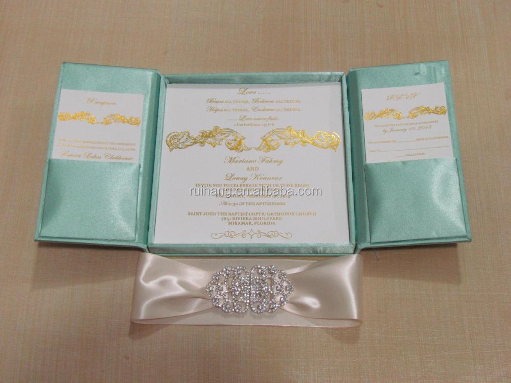 Popular elegant royal gatefold silk wedding invitation box wholesale silk wedding invitations folio gate silk inviation folder stopboris Images