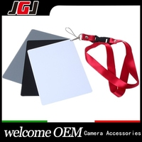Digital Camera Grey Card 3 in 1 White Black 18% Gray Color Balance Filter Card with Strap for DSLR Camera