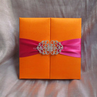 yellow unique fabric covered elegant silk wedding invitation folio card