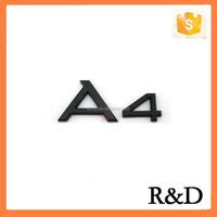 ABS Electroplating Badge Emblem For Audi Black A4 Car Bumper Rear Sticker Label Sign Decal