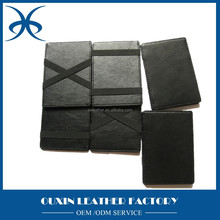 Hot Sale Fashion Men's Money Clip leather Magic Wallet mini black wallet from guangzhou leather factory