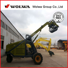 Strong power 3 wheel hydralic sugar cane loader timber excavator with grab 400kg weihgt