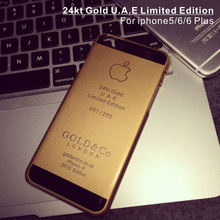 24kt gold back plate housing bezel for iphone5, shiny gold for iphone6/6 Plus cases