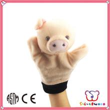 ICTI Factory new design cute animal plush pig hand puppet toy