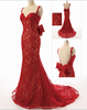 New Design 2015 Elegant Sweetheart Spaghetti Straps Backless Mermaid Lace plus size Evening Dress Red Prom Gown ZS15-06