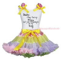Father Day Daddy always be my King White Top Dot Waist Rainbow Girls Skirt 1-8Y