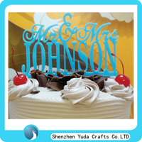 Laser cutting name cake topper display stand, perspex cake toppers in high quality