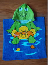 promotion use cotton velour custom design printed children hooded bath towel