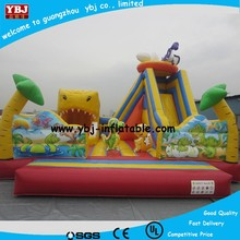 2015 cheap Inflatable bouncer fun city slide for kids birthday gift /inflatable bouncy green and orange color