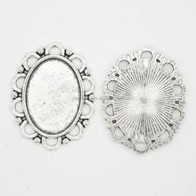 RS-1027Y Silver oval settings, Alloy Jewelry accessory making supplies wholesale china Brass Settings blank pendant tray:18x25mm