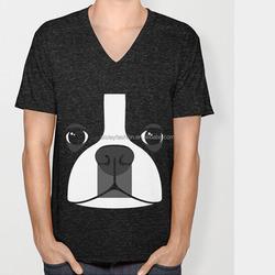 Unisex t shirt cotton v neck t shirt short sleeve t shirt with dog pattern leisure casual t shirt high quality