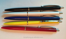 Cheap simple colorful plastic stick logo promotion ball point pen with metal clip CH-6668A