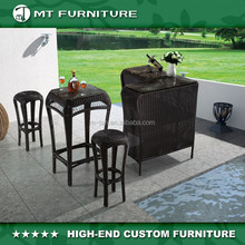 PE rattan woven bar set outdoor furniture