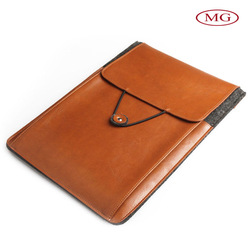 100% wool&genuine leather tablet case with two pockets universal wholesale for all 10.1inch tablet