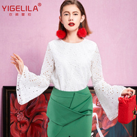Yigelila 7299 2015 design women net white long speaker sleeves hollow out pictures of beautiful girl tube long skirts and tops