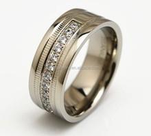 flashing CZ titanium wedding ring classic CZ man titanium ring inlaid CZ diamond engagement titanium ring