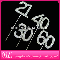 wholesale crystal number rhinestone cake topper for birthday