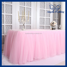 SK005H New arrival 2015 beautiful bridal ruffled wedding pink tulle table skirt