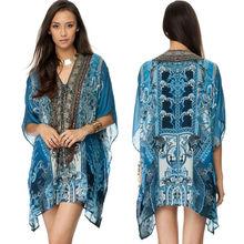 Multicoloured crystals chiffon lining dress ethnic style short kaftan lace dress