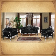 Black 3 2 1 Classic Sofa, Vintage Classical Home Furniture, Alibaba Golden Supplier Foshan Furniture Market