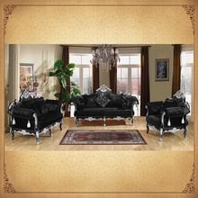 Ornate Carved Wooden Frame Classic Sofa Set Furniture Black Living Room Furniture