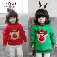 Hot Boutique Children Girls Flocking Elk Embroidered Long Tops For Christmas